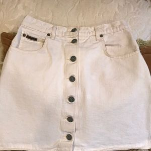 Calvin Klein cream vintage jean skirt made in USA!